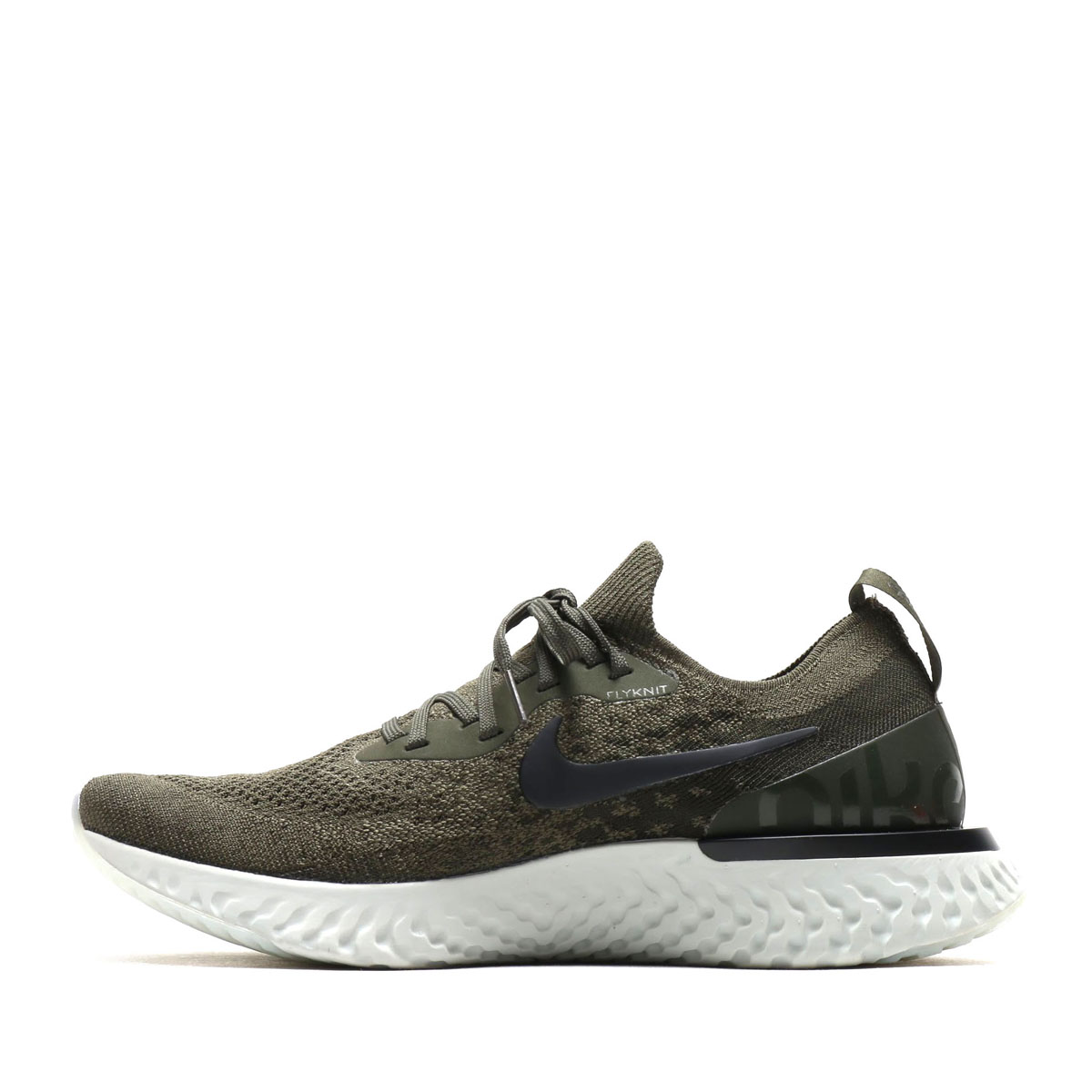 5ad1609c4459 NIKE EPIC REACT FLYKNIT (Kie Ney pick re-act fly knit) (CARGO KHAKI BLACK- SEQUOIA-LIGHT SILVER) 18SU-S