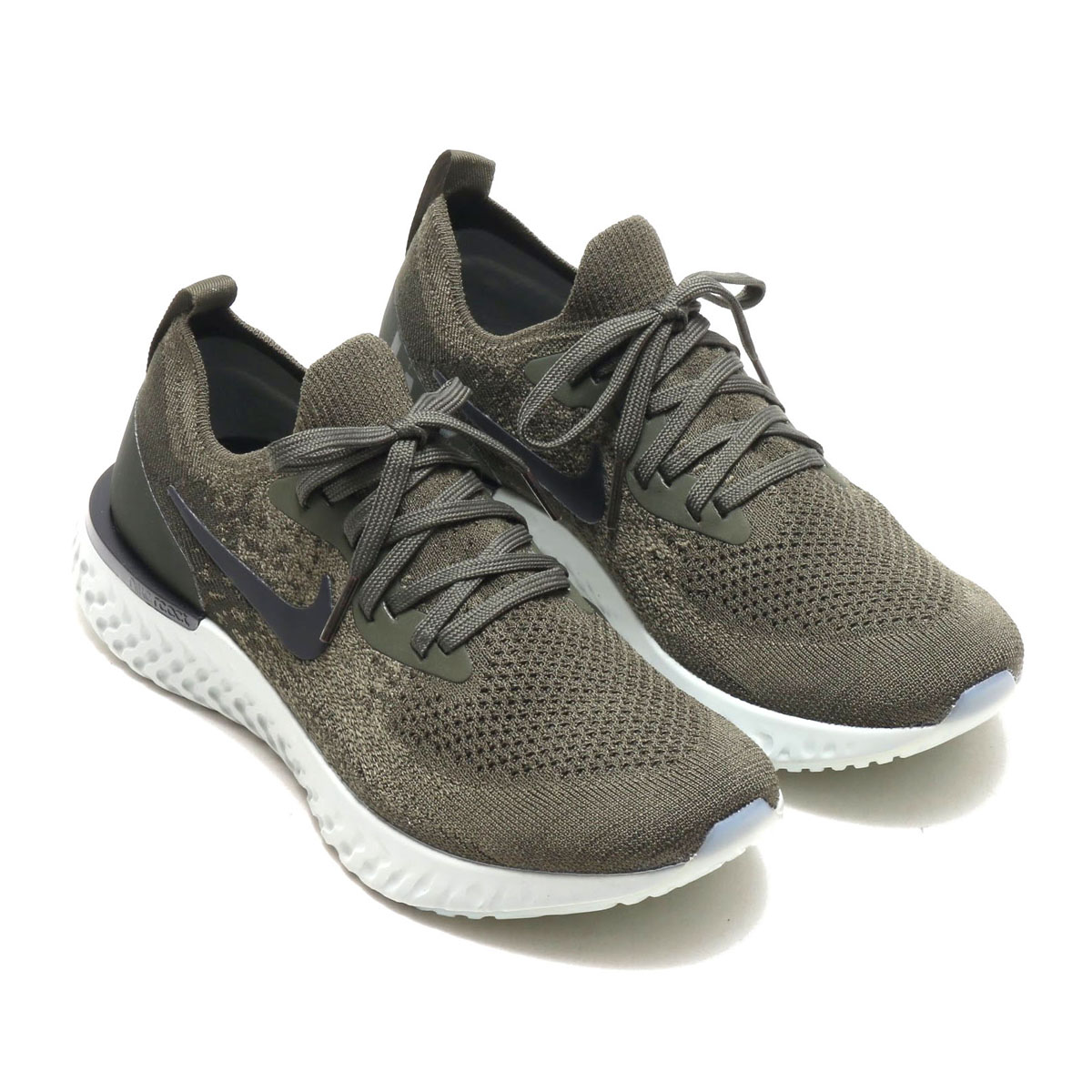 3f89d55480ed NIKE WMNS EPIC REACT FLYKNIT (Nike women epic re-act fly knit) (CARGO  KHAKI BLACK-SEQUOIA-LIGHT SILVER) 18SU-S