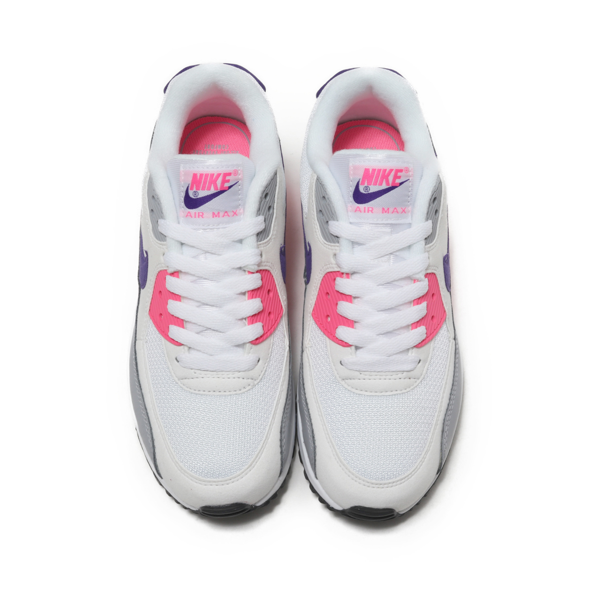 90e6c004ef9 NIKE WMNS AIR MAX 90 (Nike women Air Max 90) WHITE COURT PURPLE-WOLF GREY-LASER  PINK 18FA-I