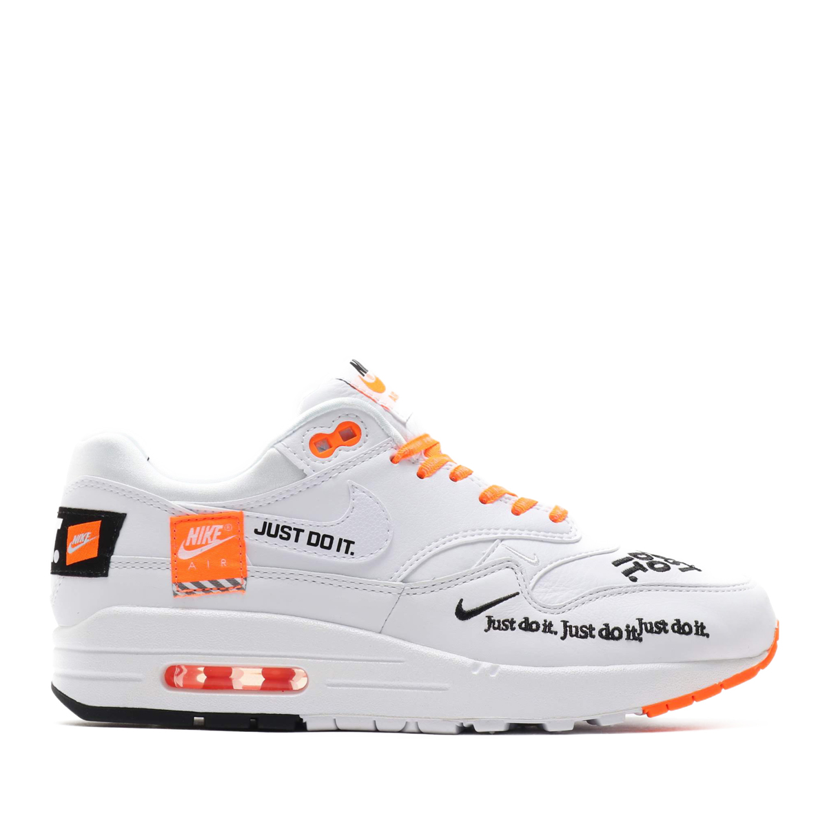 bb28f281a6a NIKE WMNS AIR MAX 1 LX (Nike women Air Max 1 LX) WHITE BLACK-TOTAL ORANGE  18FA-S
