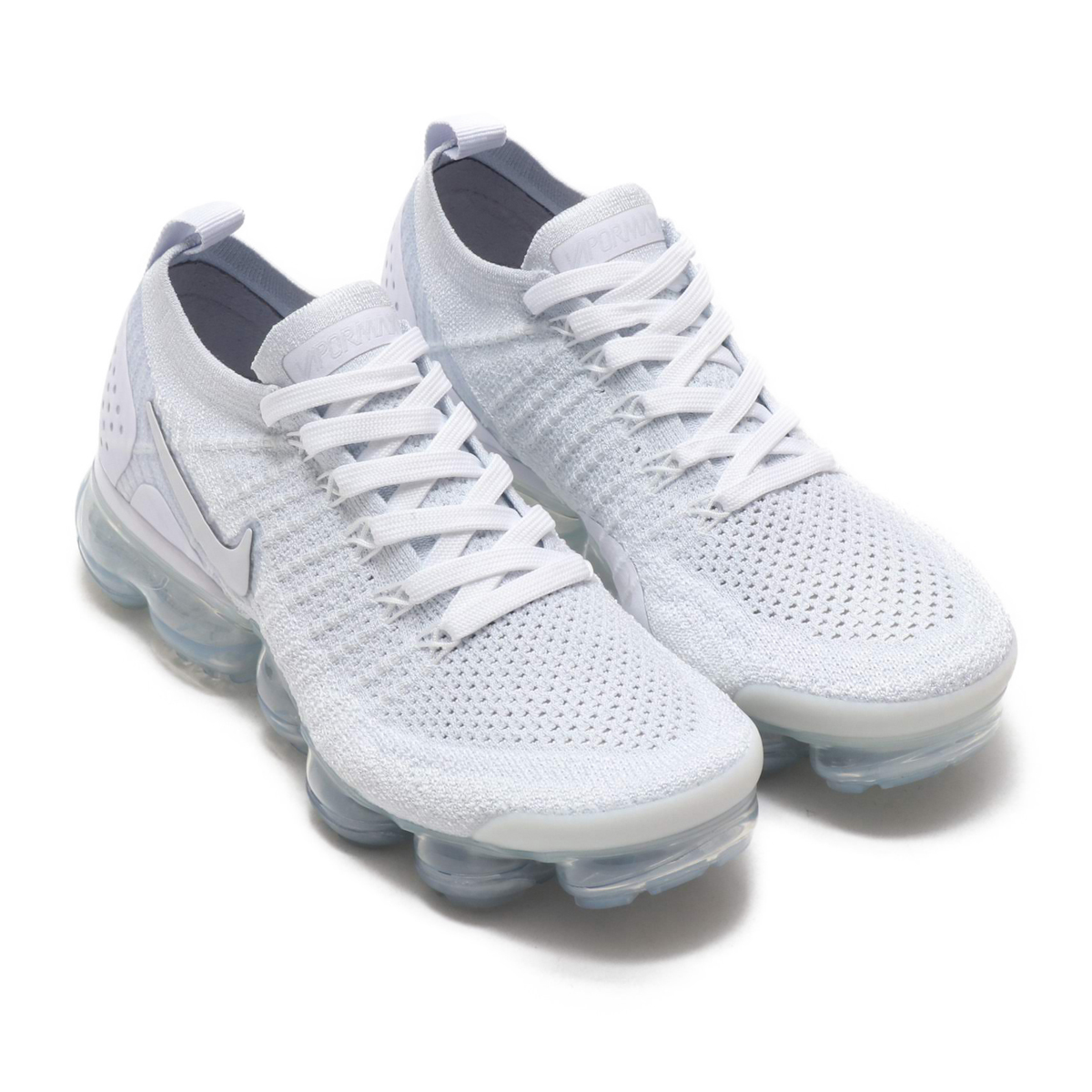 NIKE W AIR VAPORMAX FLYKNIT 2 (Nike women air vapor max fried food knit 2)  WHITE WHITE-VAST GREY-FOOTBALL GREY 18FA-S 6080eaf99