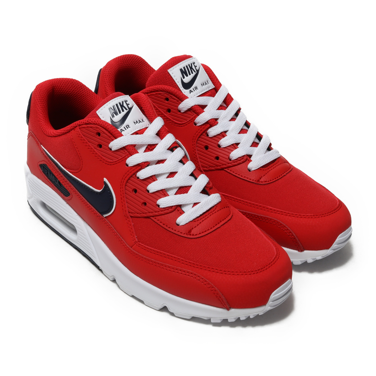 18aec047f9cc1 NIKE AIR MAX 90 ESSENTIAL (Kie Ney AMAX 90 essential) UNIVERSITY RED BLACKENED  BLUE-WHITE 18FA-I