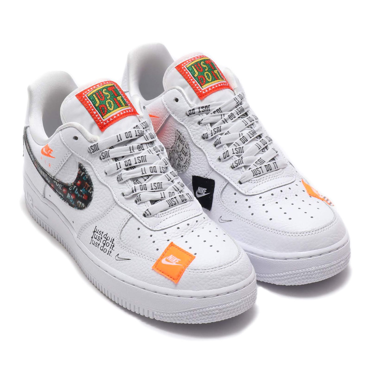 atmos pink  NIKE AIR FORCE 1  07 PRM JDI (Nike air force 1 07 premium JDI)  WHITE WHITE-BLACK-TOTAL ORANGE 18FA-S  1e1575527