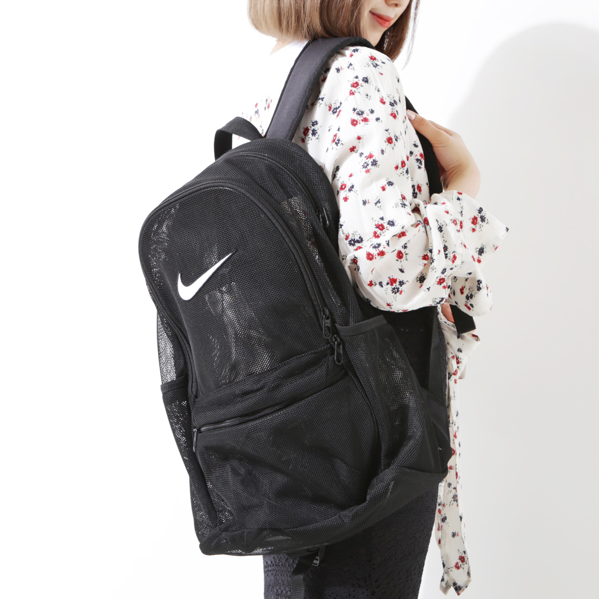 NIKE NK BRSLA MESH BKPK (Nike Brasilia mesh backpack) BLACK BLACK WHITE  18FA-I