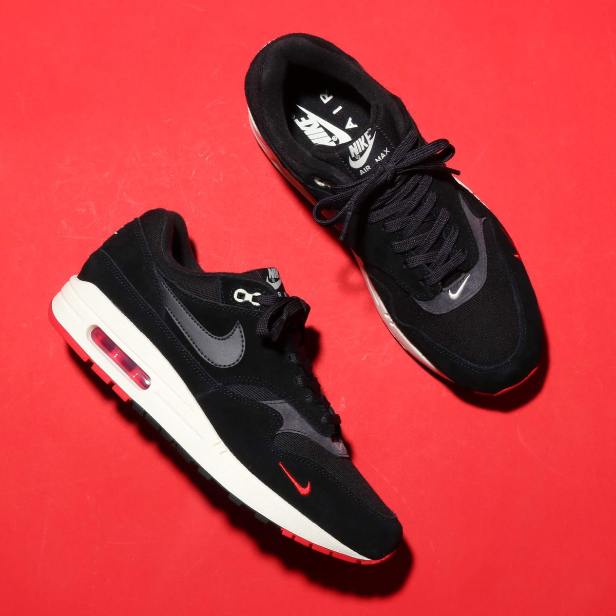 size 40 d14d2 26cbc NIKE AIR MAX 1 PREMIUM (Kie Ney AMAX 1 premium) BLACK OIL GREY-UNIVERSITY  RED-SAIL 18FA-I