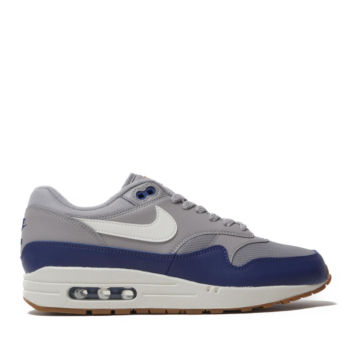 buy popular edc06 3c268 Nike Air Max 1 NSW Grey Sail Navy Mens Running Shoes NSW Sneakers AH8145-008  Clothing, ...