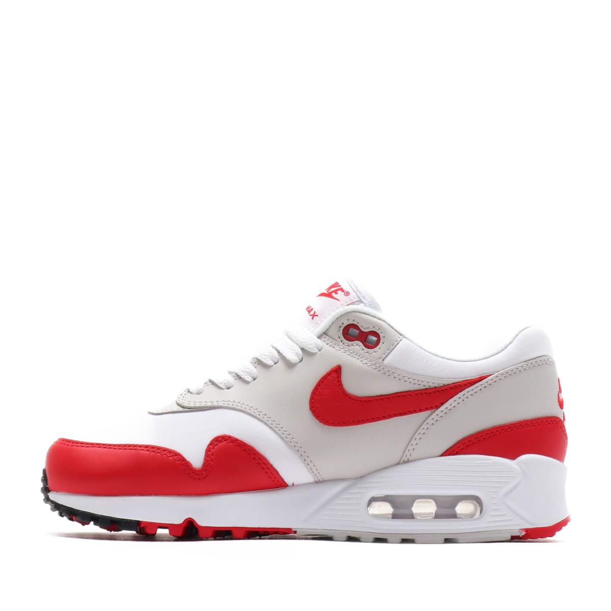 NIKE W AIR MAX 90 1 (Nike women Air Max 90 1) WHITE UNIVERSITY RED-NEUTRAL  GREY-BLACK 18FA-S fe9727649dc8