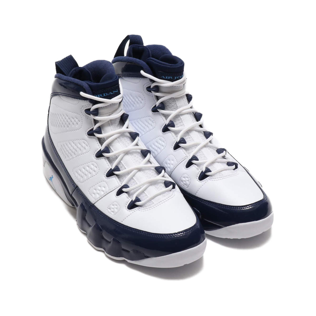 NIKE AIR JORDAN 9 RETRO (ナイキ エア ジョーダン 9 レトロ)WHITE/UNIVERSITY BLUE-MIDNIGHT NAVY【メンズ スニーカー】19SP-S