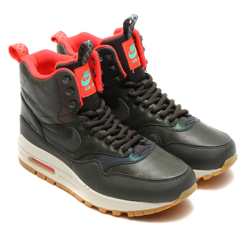 NIKE WMNS AIR MAX 1 MID SNKRBT RFLCT (sneaker boots Max 1 mid, Nike Womens  air reflect) SEQUOIA/BLACK-BRGHT CRMSN-MNT 15HO-S