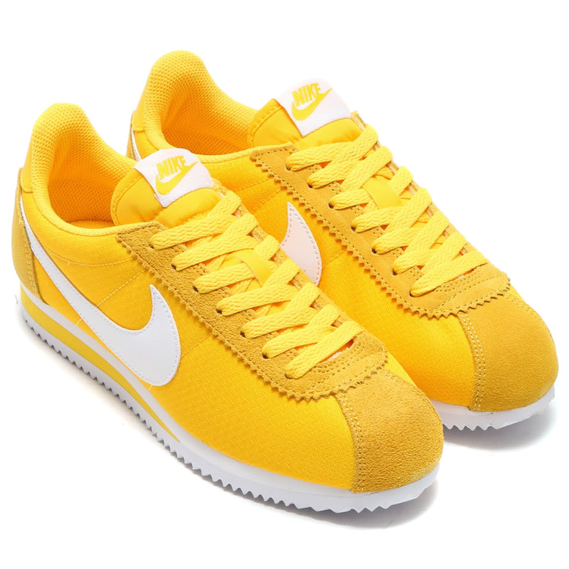 womens nike cortez white yellow