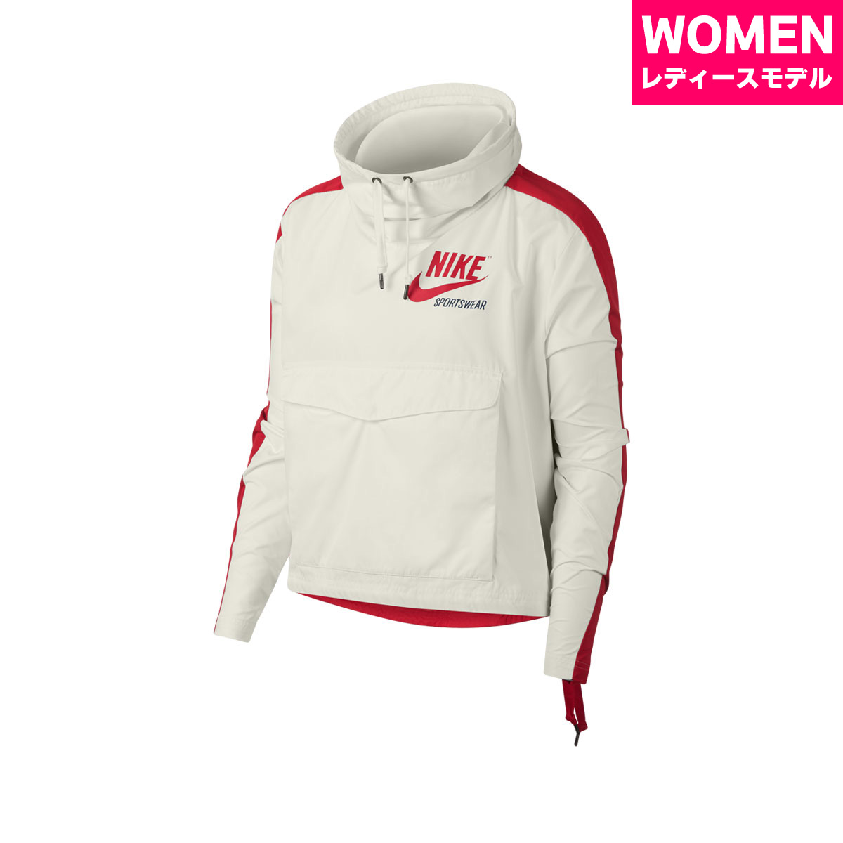 25fd59673516 NIKE AS W NSW JKT PO ARCHIVE (Nike women archive pullover jacket)  SAIL UNIVERSITY RED 18SP-I