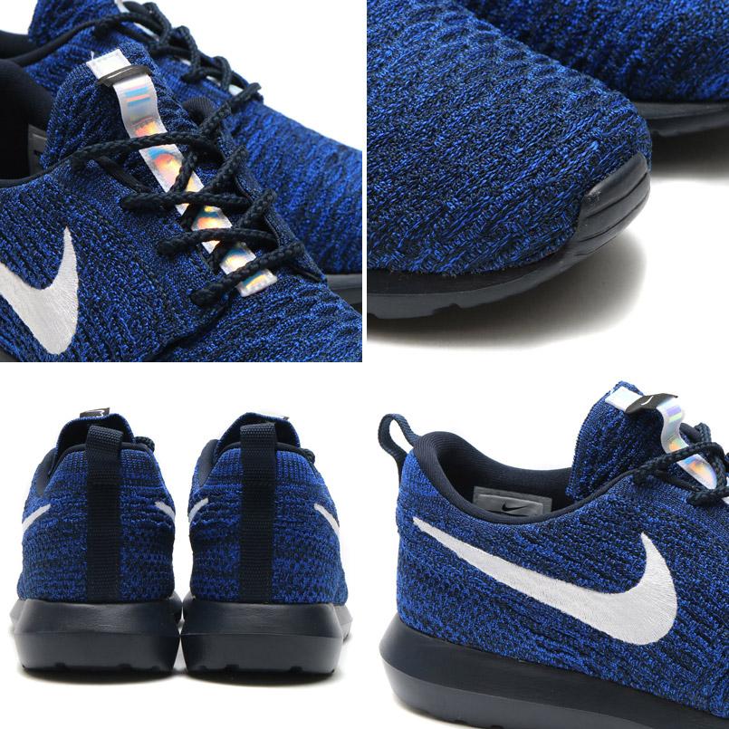 6667a264318a9 NIKE ROSHE NM FLYKNIT (Nike Ros NM Flint) DARK OBSIDIAN WHITE-RACER BLUE-PHOTO  BLUE 16FA-I