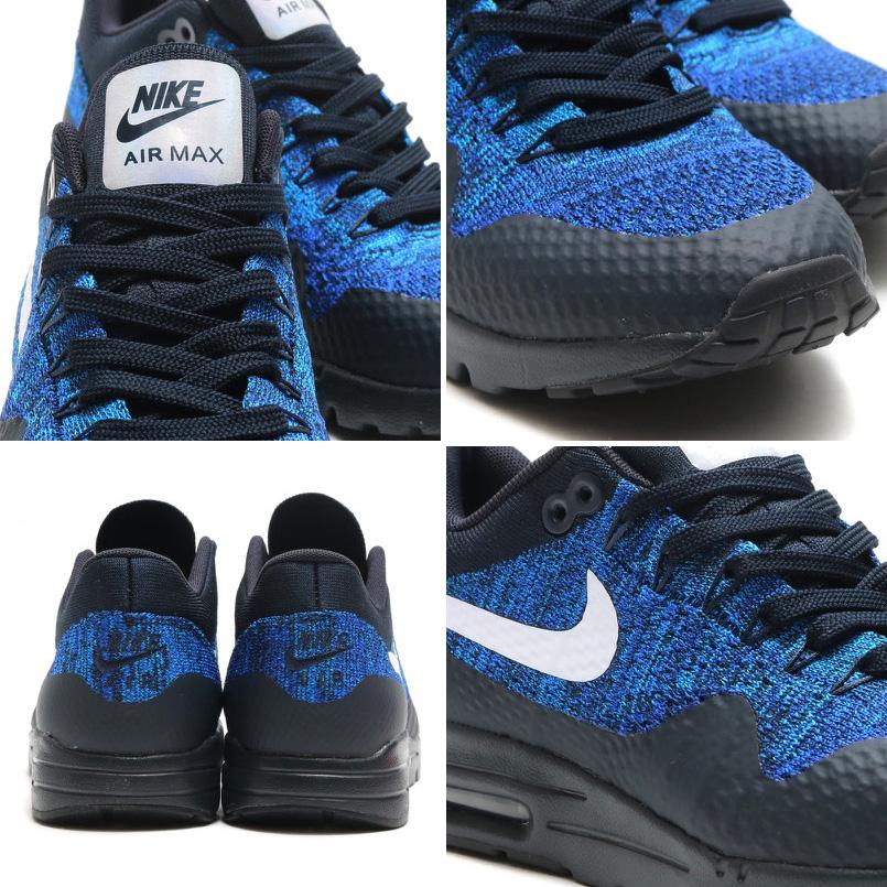 58109559d340b2 NIKE WMNS AIR MAX 1 ULTRA FLYKNIT (Nike wmns Air Max 1 ultra Flint) DARK  OBSIDIAN WHITE-RACER BLUE-PHOTO BLUE 16FA-I