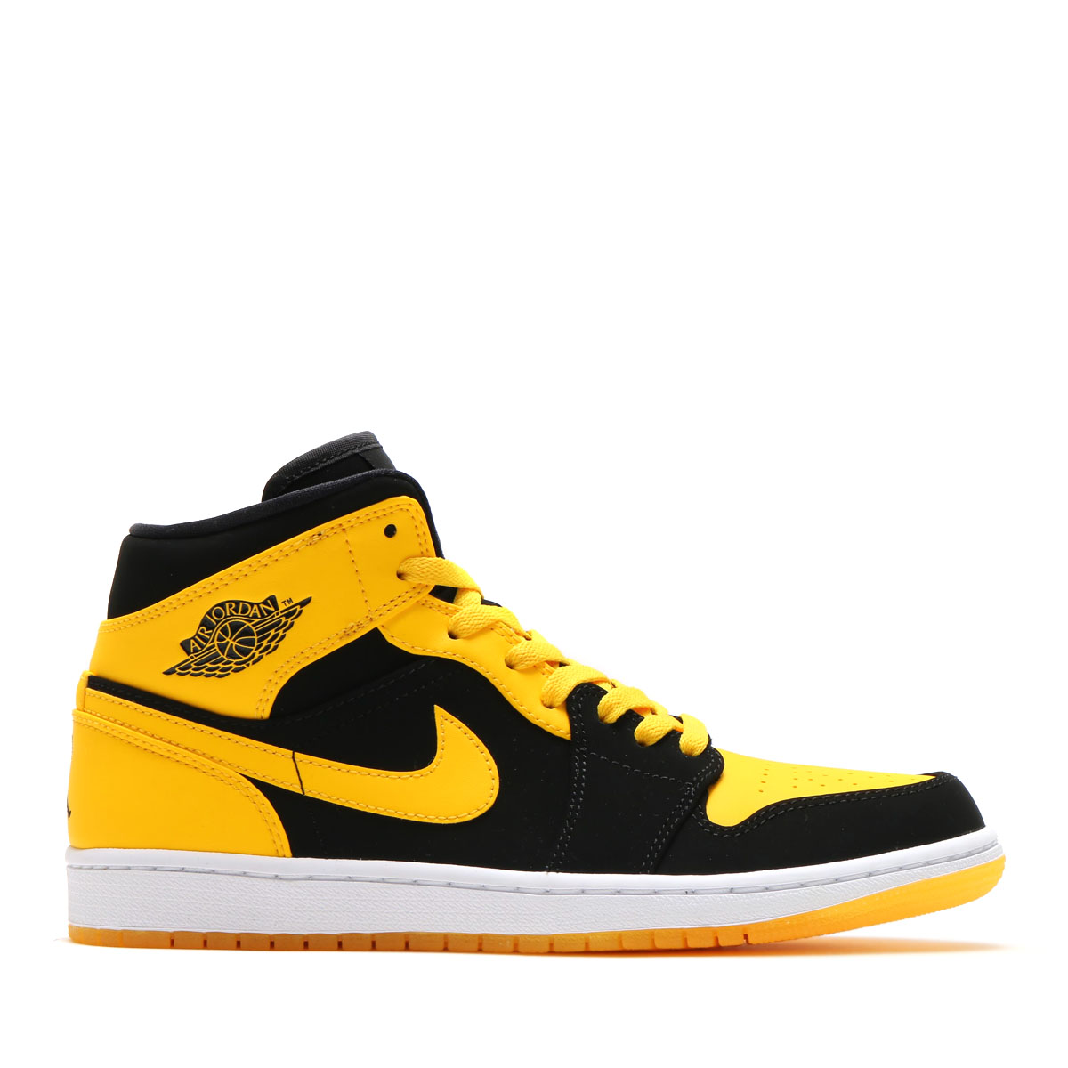 "NIKE AIR JORDAN 1 MID ""New Love"" (Nike Air Jordan 1 mid) (BLACK/VARSITY MAIZE-WHITE) 17SS-I"