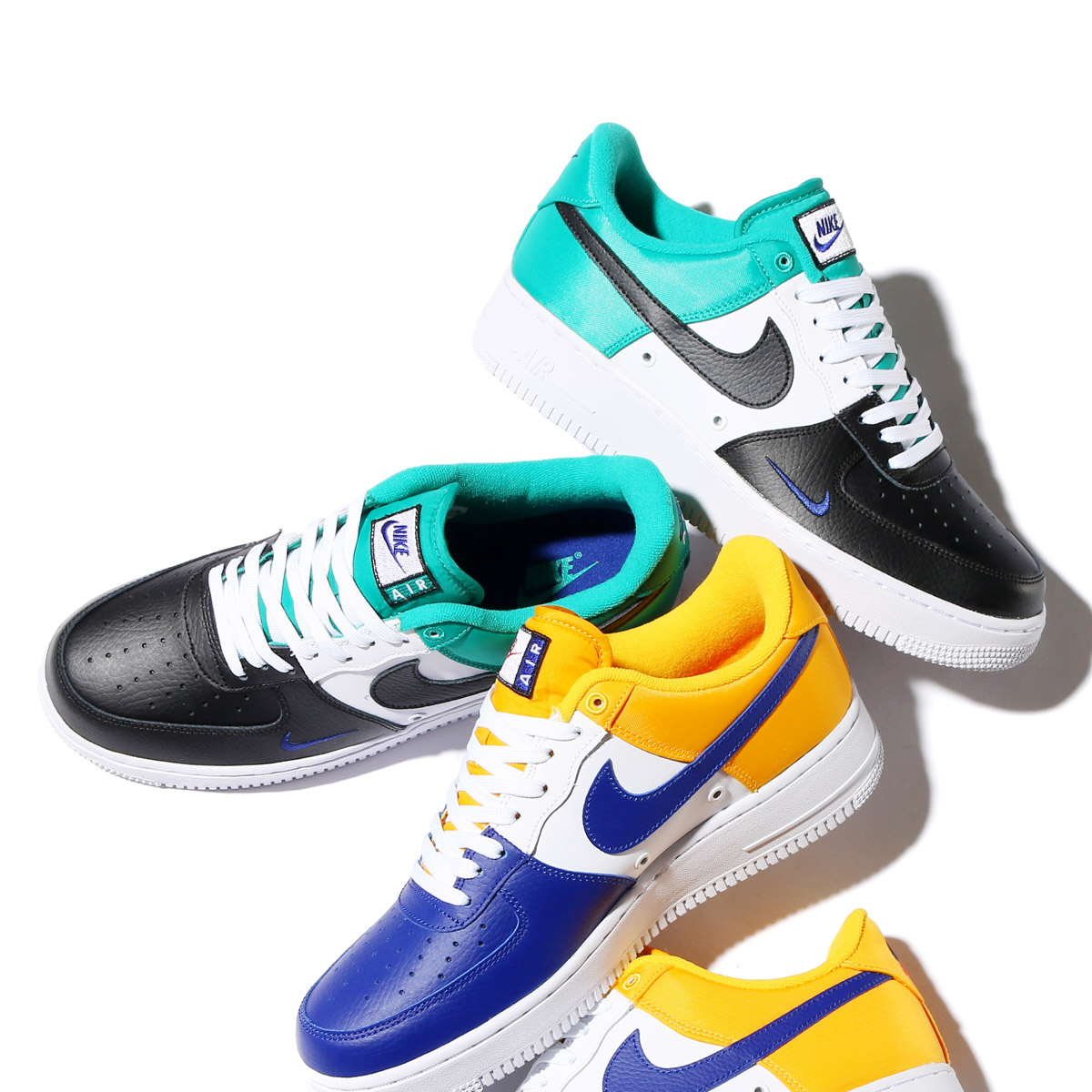 newest 3d459 157c4 NIKE AIR FORCE 1  07 LV8 (Nike air force 1 07 LV8) (BLACK DEEP ROYAL BLUE-NEPTUNE  GREEN)