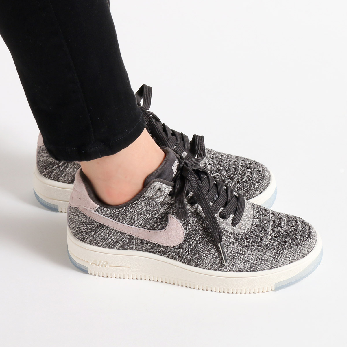f7691cdf79f9 NIKE W AF1 FLYKNIT LOW (Nike women AF1 fly knit low) MIDNIGHT FOG SILT RED- IVORY-STRING 17FA-I
