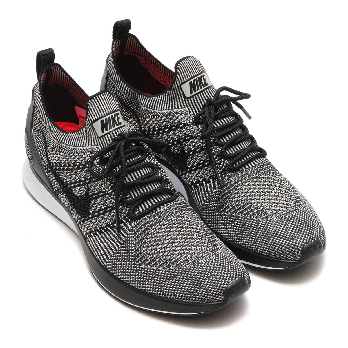 5de68b15233 NIKE AIR ZOOM MARIAH FLYKNIT RACER (Nike air zoom Maria fly knit racer) (PALE  GREY BLACK-SOLAR RED-WHITE) 17FA-S