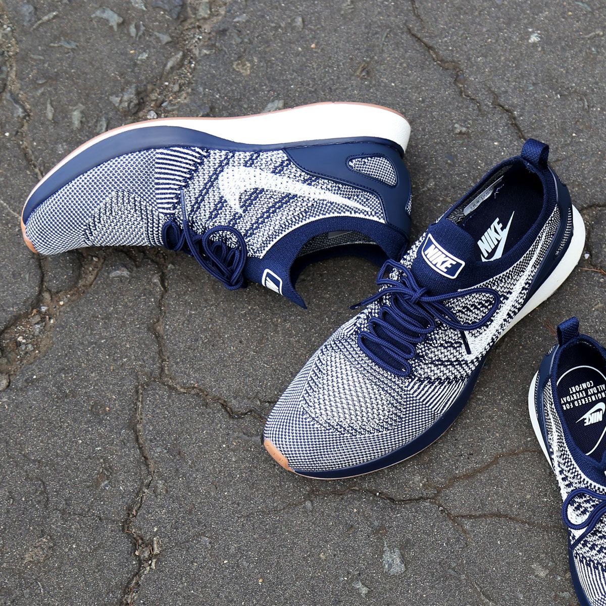 NIKE AIR ZOOM MARIAH FLYKNIT RACER(ナイキ エア ズーム マライア フライニット レーサー)(COLLEGE NAVY/SAIL-GUM MED BROWN)17FA-S