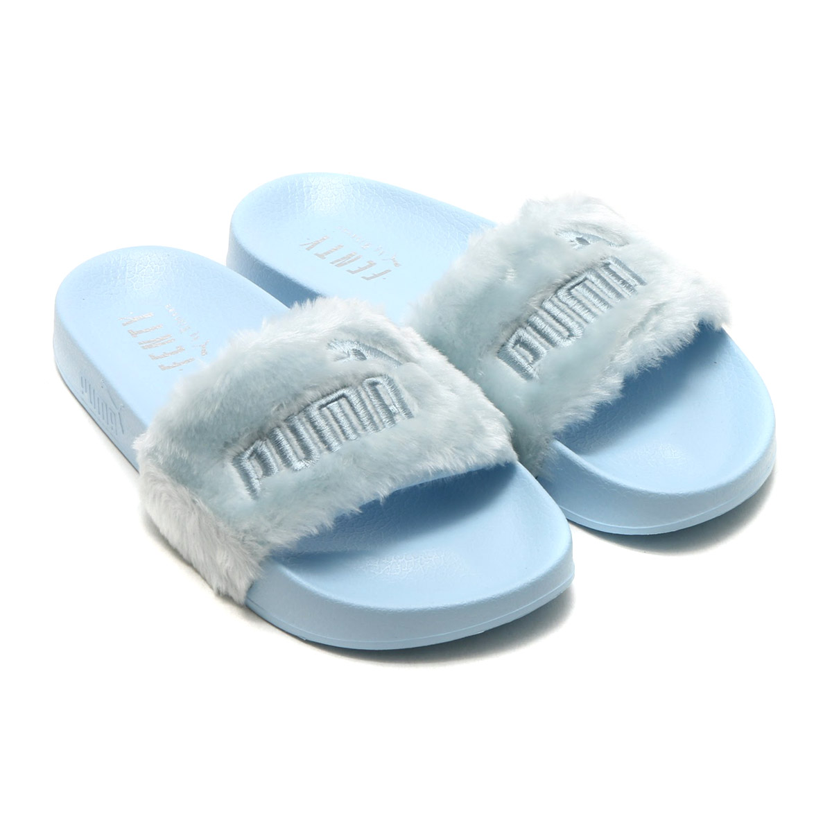 db617e8336c5 atmos pink  PUMA FUR SLIDE WNS (Puma farce ride) COOL BLUE-PUMA ...