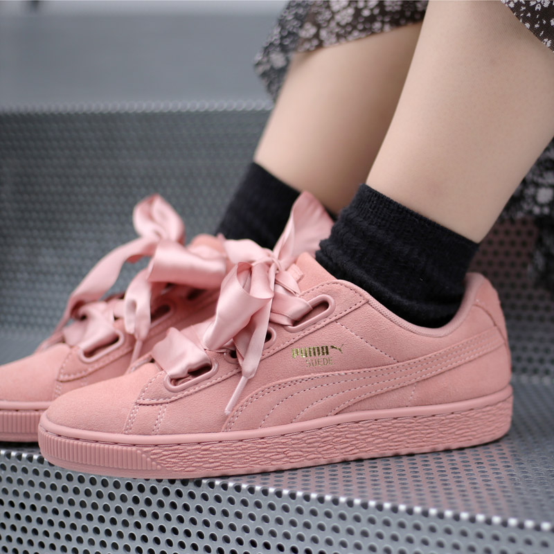 PUMA SUEDE HEART SATIN 2 WNS (Puma suede heart satin 2 women) (CAMEO BROWN)  17FA-I 7d4af50d6