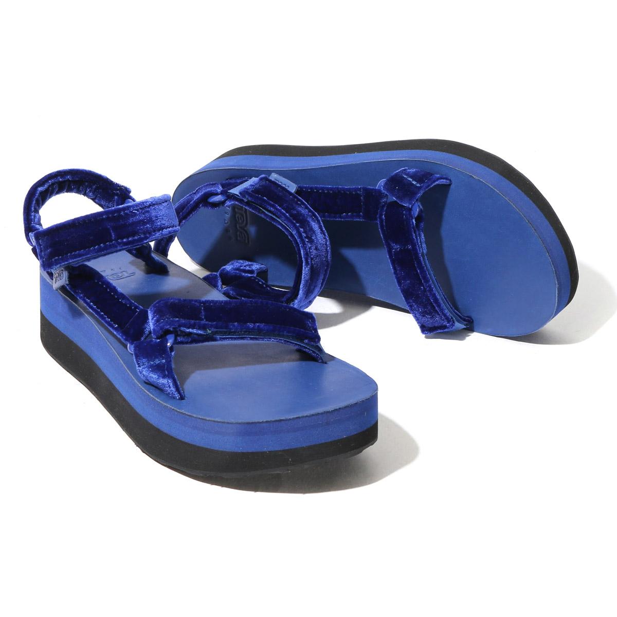 bef2356d1d9 TEVA FLATFORM UNIVERSAL VELVET (Teva flat form older brother decorative  collar LebeL Bet) (BLUE) 17FW-I