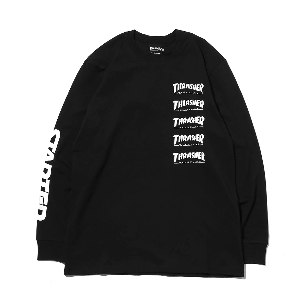THRASHER x STARTER L/S T-SHIRT (スラッシャー x スターター ロングスリーブ ティーシャツ)BLACK【メンズ 長袖Tシャツ】18FW-I