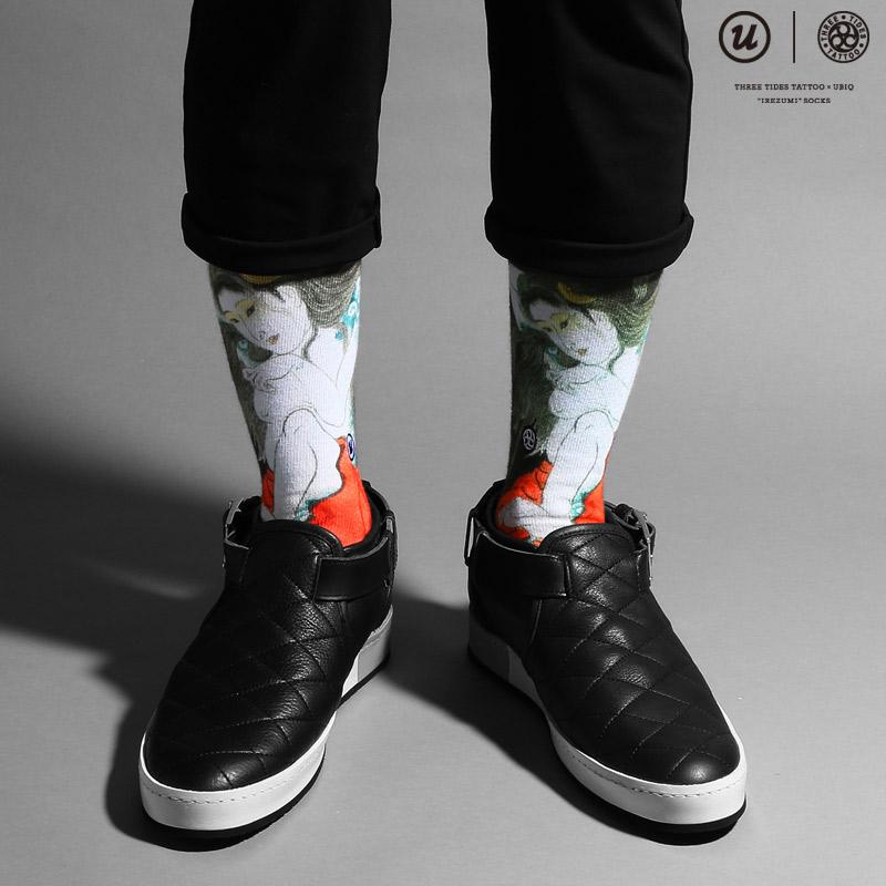 """THREE TIDES TATTOO×UBIQ """"IREZUMI"""" SOCKS (Tamatorihime) Designed by HORIHIRO MITOMO (three tides tattoo x Ubik """"tattoo"""" Socks) 16 FW-I"""