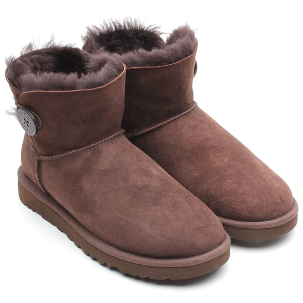 ugg mini bailey button chocolate