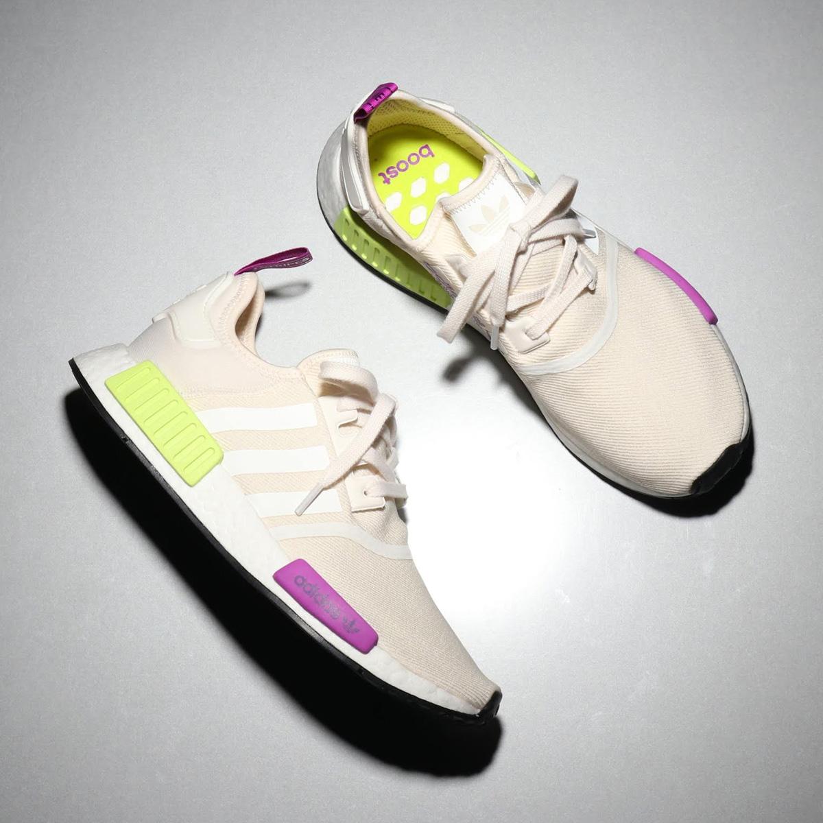 adidas Originals NMD_R1(アディダス オリジナルス エヌエムディーR1)CHALK WHITE/CHALK WHITE/SEMI SOLAR YELLOW【メンズ レディース スニーカー】18FW-I