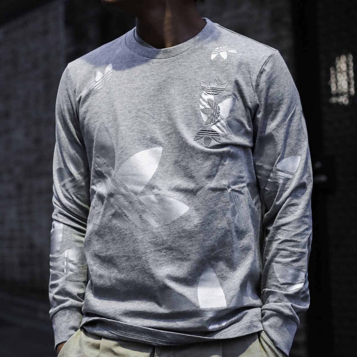 adidas REF/MET LS TEE(アディダス ロングスリーブ Tシャツ)MEDIUM GRAY FEATHER/SILVER METRIC【メンズ 長袖Tシャツ】20SS-S
