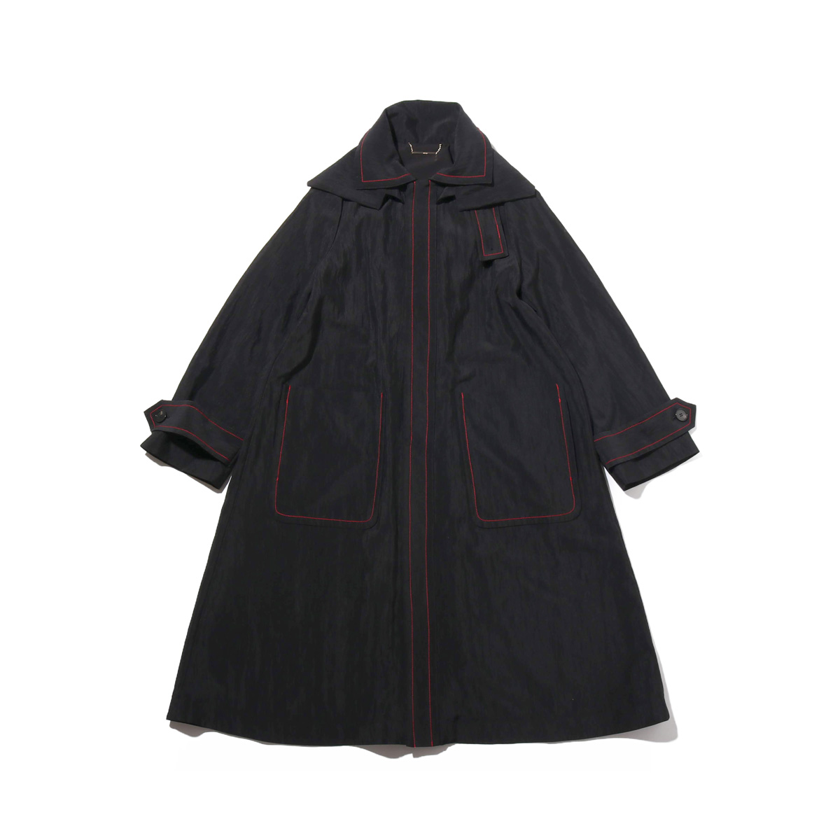 atmos pink 配色ステッチ ロングコート(アトモスピンク ハイショクステッチ ロングコート)BLACK【レディース コート】18FW-I