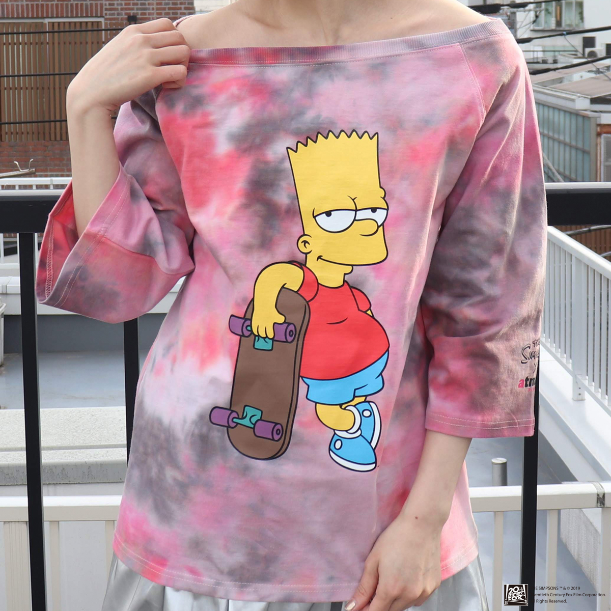 The Simpsons x atmos pink ワンショル タイダイ Tシャツ(シンプソンズ x アトモスピンク ワンショル タイダイ Tシャツ)PINK【レディース Tシャツ】19SP-S:atmos-tokyo