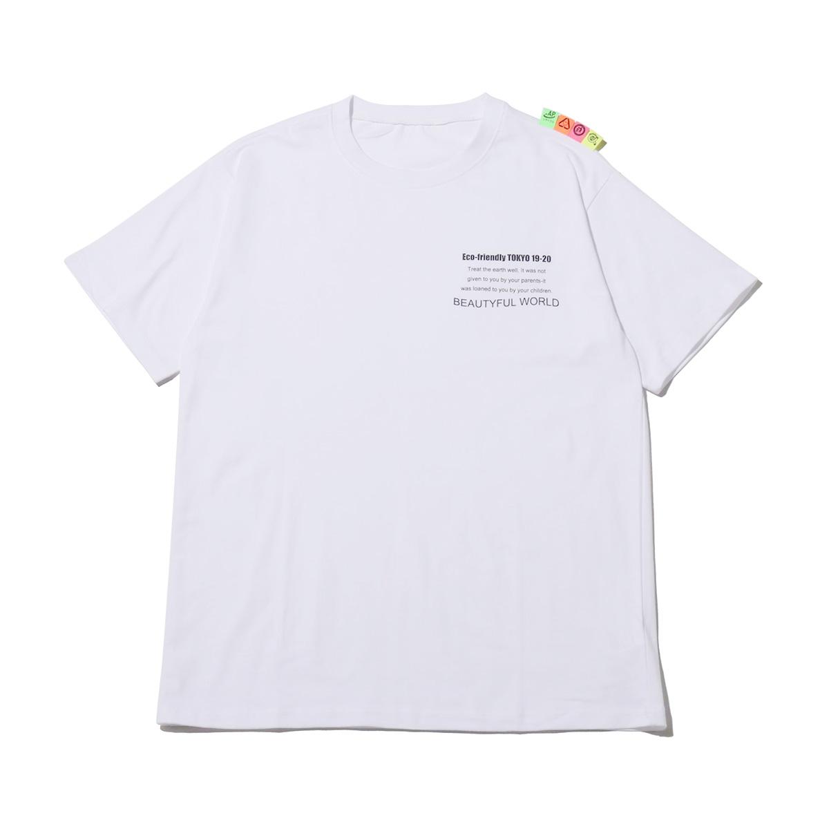 atmos pink ラベル Tシャツ(アトモスピンク ラベル ティーシャツ)WHITE【レディース 半袖Tシャツ】19FA-I