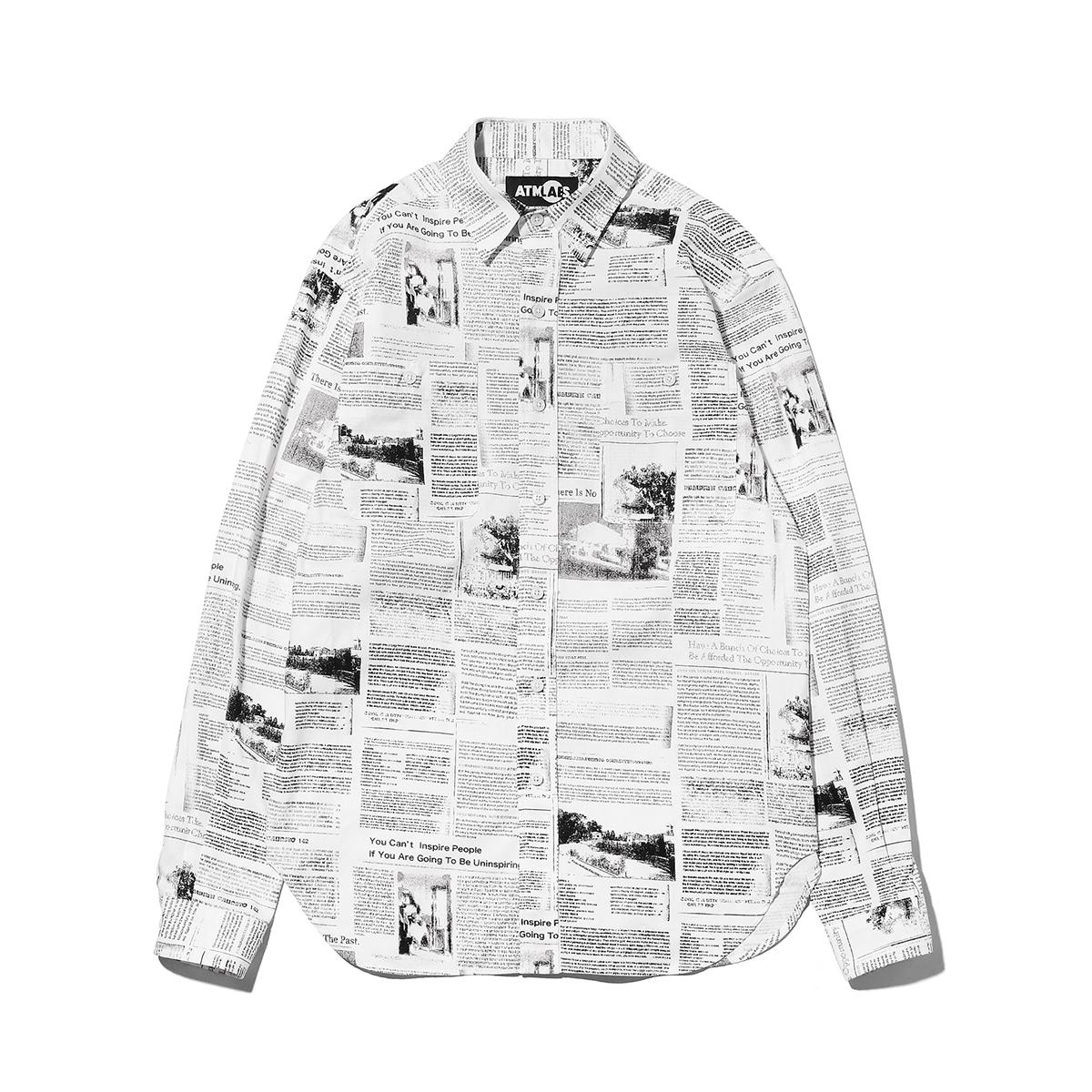 ATMOS LAB NEWS PAPER SHIRT(アトモス ラボ ニュースペーパー シャツ) NEWS【メンズ シャツ】18FW-I