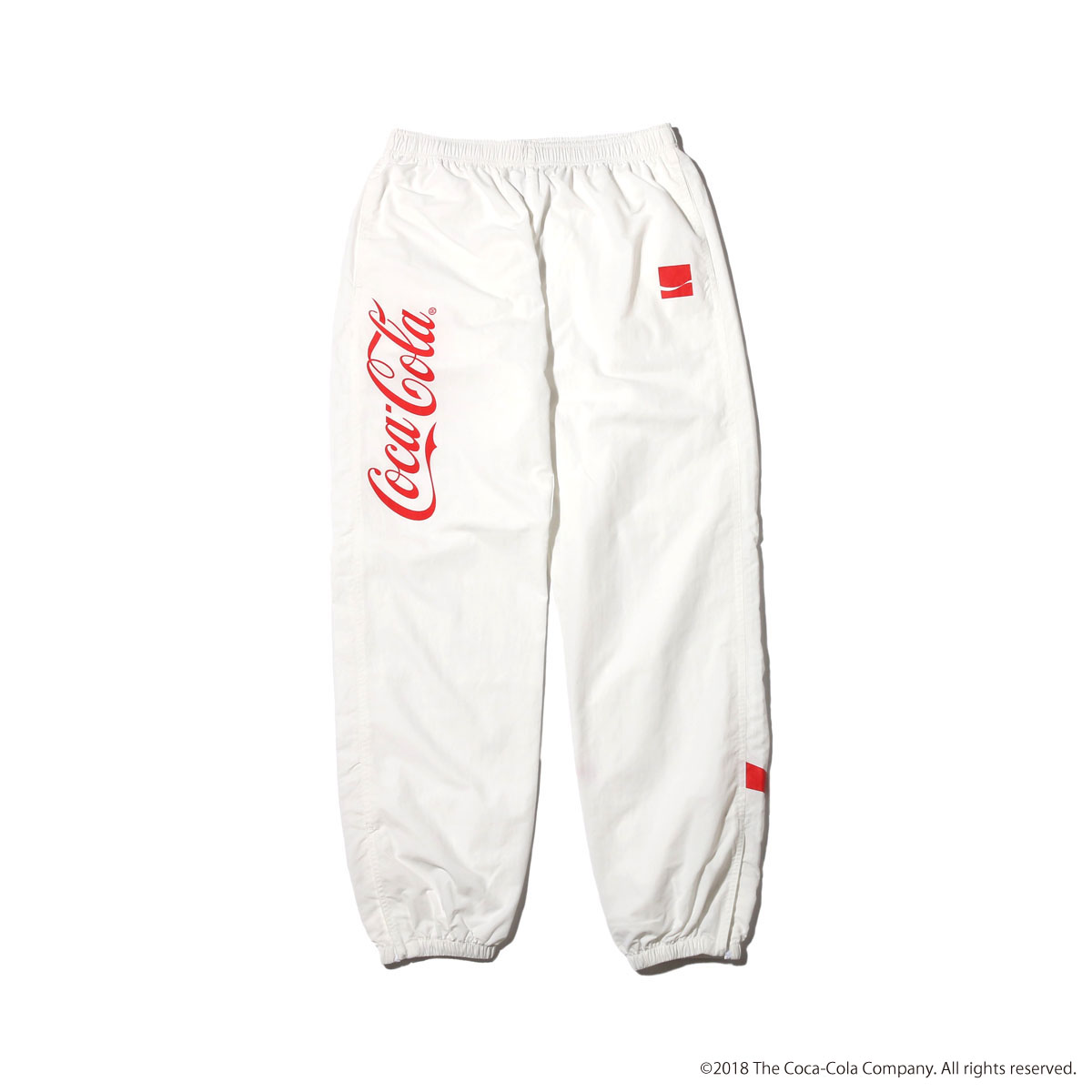 COCA-COLA by ATMOS LAB DRD NYLON TRACK PANTS (コカコーラ バイ アトモスラボ ディーアールディー ナイロン トラック パンツ) WHITE【メンズ パンツ】18SS-S