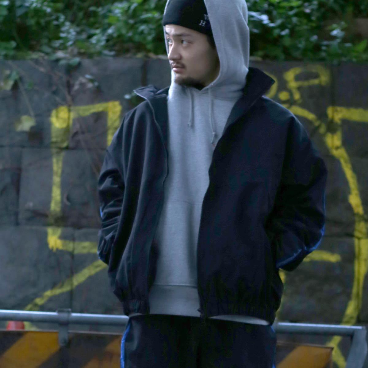 ATMOS LAB NYLON TRACK LINE JACKET (アトモスラボ ナイロン トラック ライン ジャケット) BLACK/BLUE【メンズ ナイロンジャケット】17HO-I