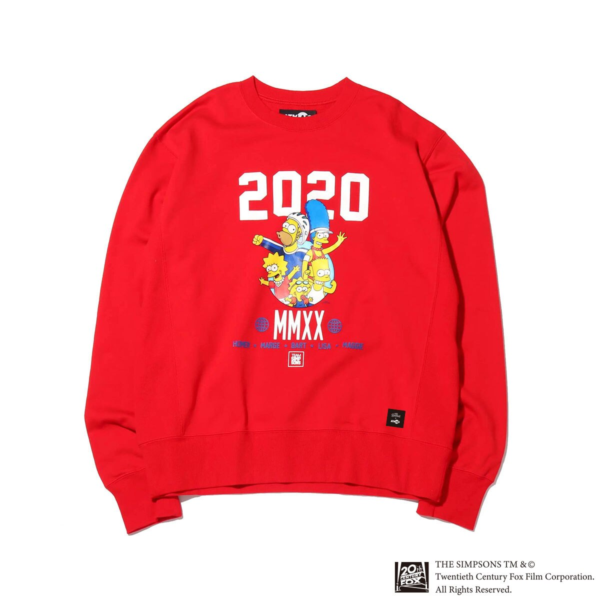 ATMOS LAB x THE SIMPSONS 2020 FAMILY CREW(アトモスラボ ザ シンプソンズ 2020 ファミリー クルー)RED【メンズ スウェット】20SP-S