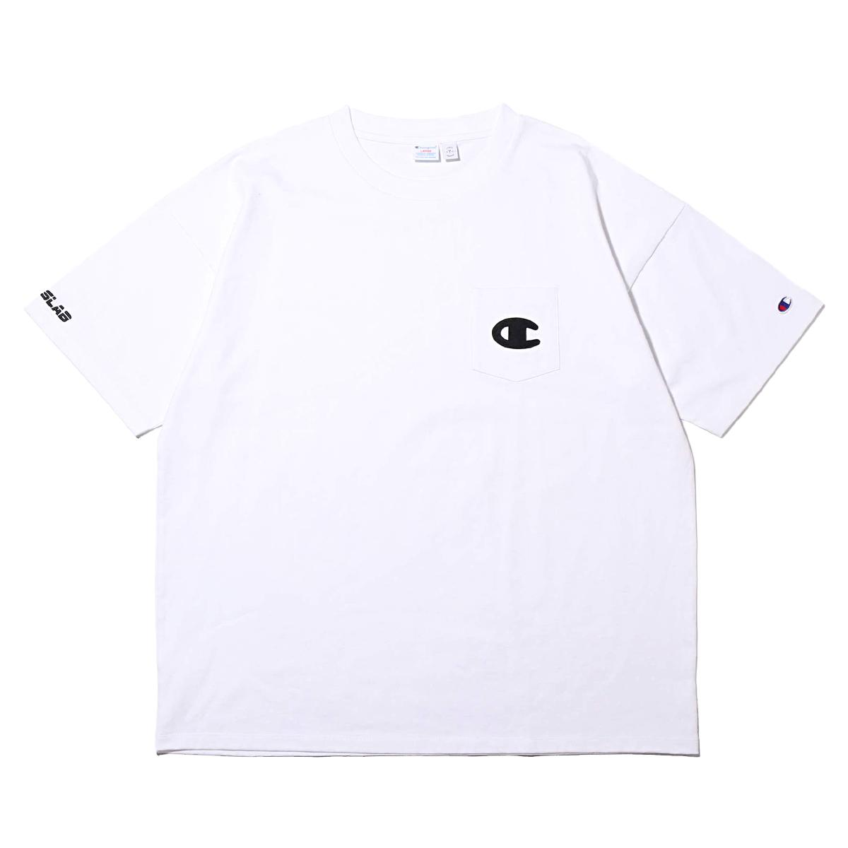 CHAMPION x ATMOS LAB LAB S/S POCKET T-SHIRT (チャンピオン × アトモスラボ ショートスリーブ ポケット ティーシャツ)ホワイト【メンズ Tシャツ】19SP-S