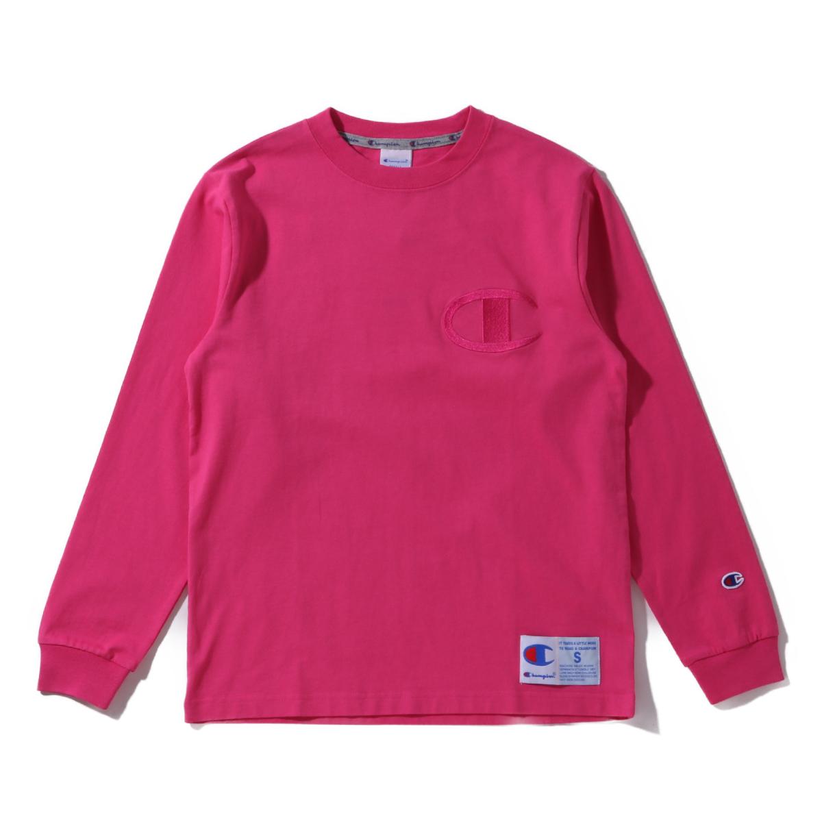 Champion LONG SLEEVE T-SHIRT(チャンピオン ロングスリーブ ティーシャツ)ネオピンク【メンズ 長袖Tシャツ】19FA-I