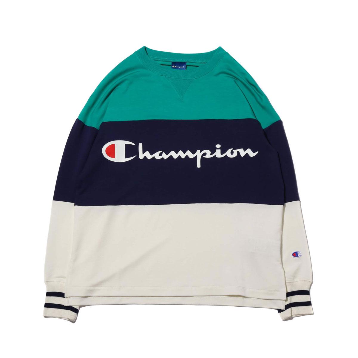 Champion CREW NECK SWEATSHIRT (チャンピオン クルーネック スウェットシャツ)ホワイト【レディース パーカー】19SP-I