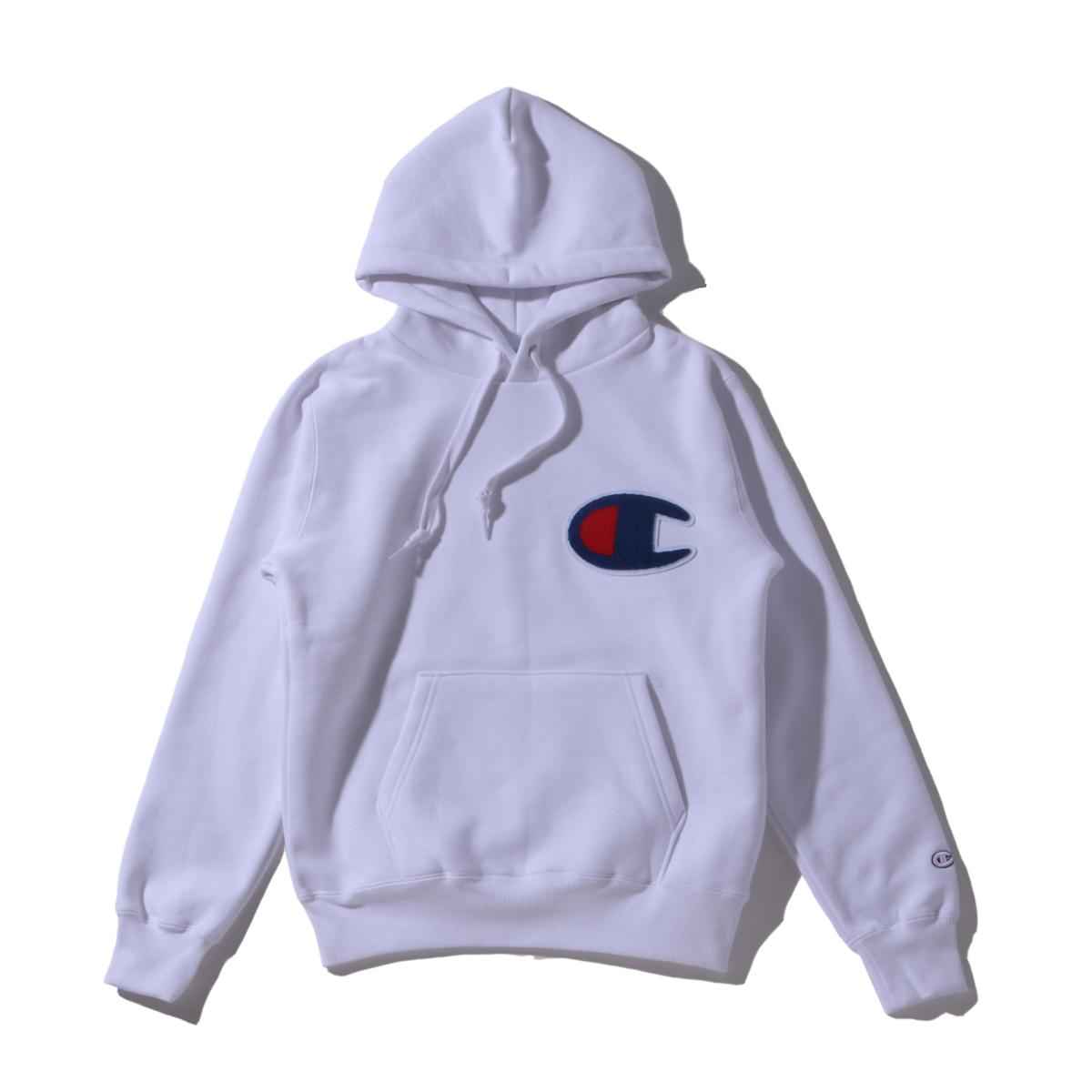 Champion PULLOVER HOODED SWEATSHIRT(チャンピオン プルオーバー フーデッドスウェットシャツ)ホワイト【メンズ パーカー】19FA-I