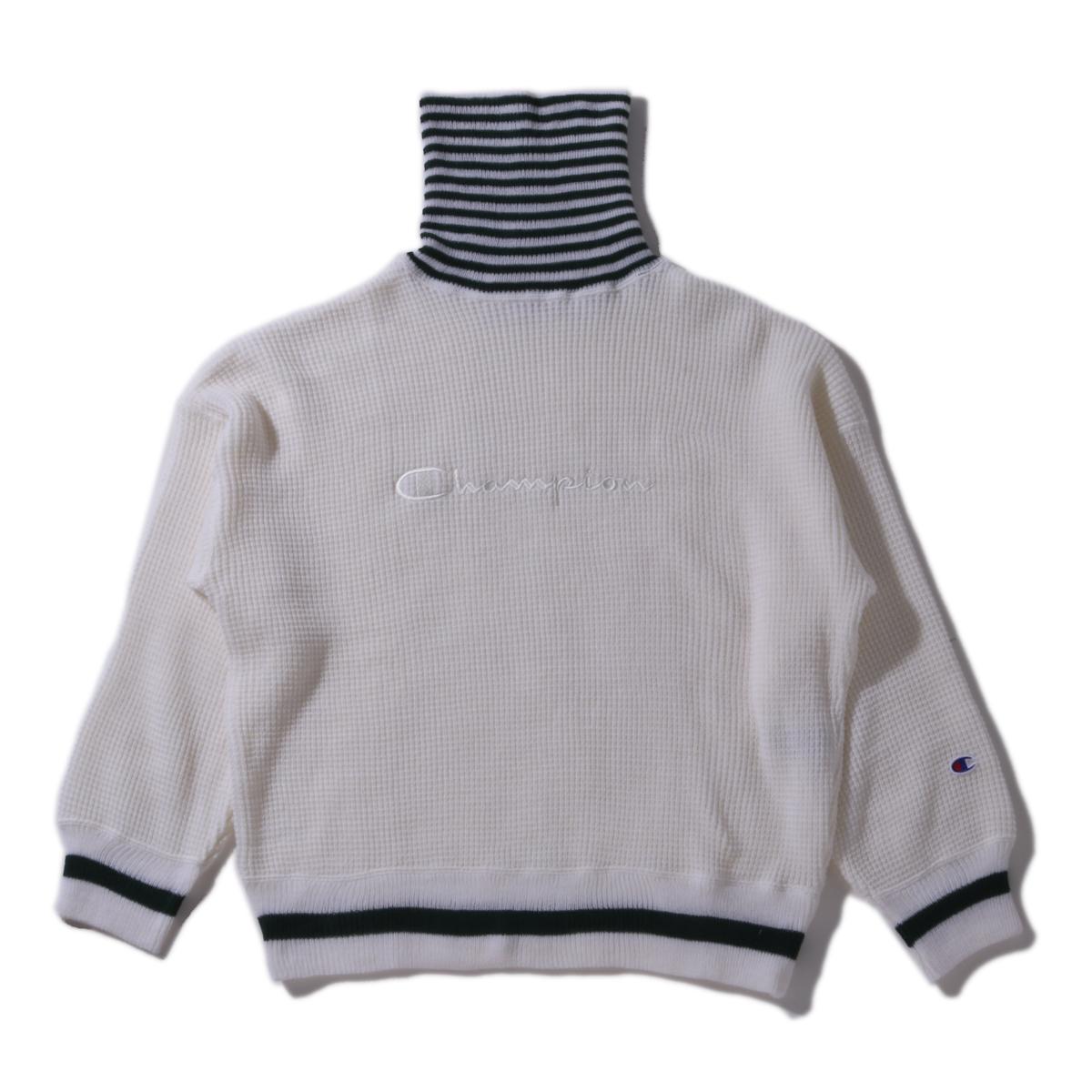 Champion HIGHNECK SHIRT(チャンピオン ハイネック シャツ)オフホワイト【レディース 長袖Tシャツ】19FA-I