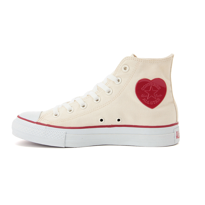 CONVERSE ALL STAR HEARTPATCH HI (converse all star Hi heart patch) (natural/red) 16 FW-I