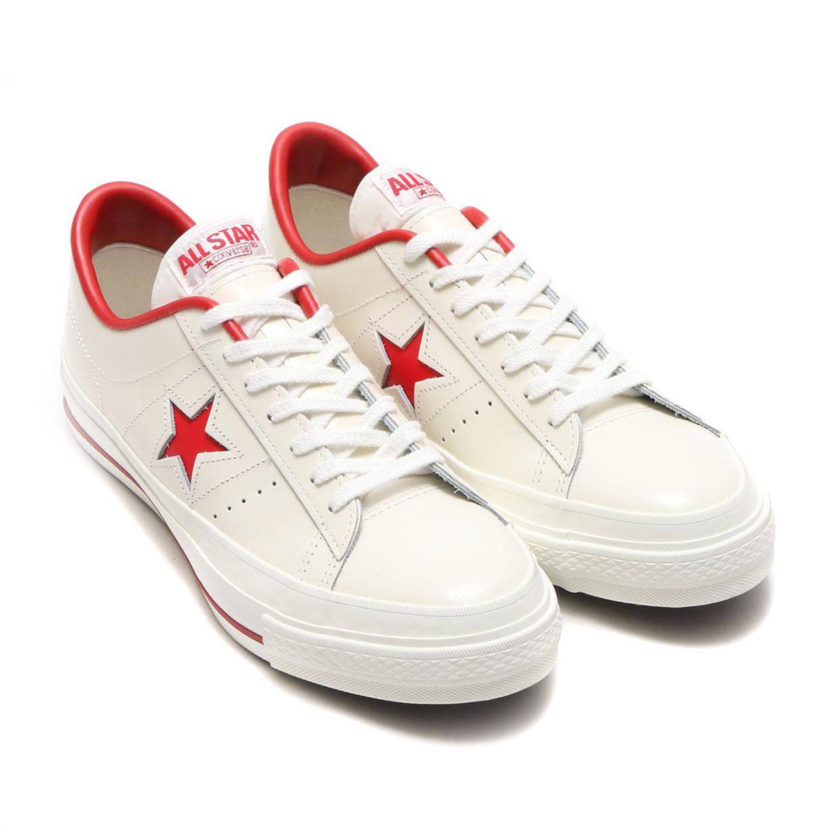 CONVERSE ONE STAR J (コンバース ワン スター J) ホワイト/レッド【メンズ レディース スニーカー】17FW-I