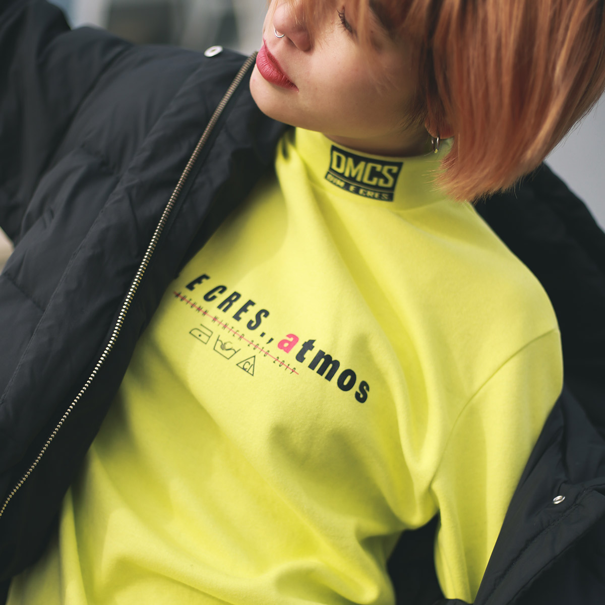 atmos pink × DIM.E CRES. BASIC LONG SLEEVE (アトモスピンク × ディムエクレス ベーシック ロングスリーブ)YELLOW【レディース 長袖Tシャツ】18HO-I