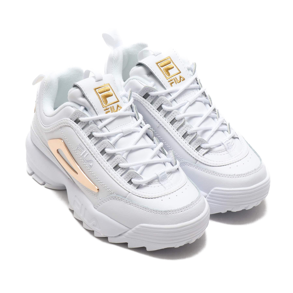 FILA DISRUPTOR 2 HARDWARE WOMENS (フィラディスラプター 2 hardware women)  WHITE/METALIC GOLD/WHITE 19SS-S