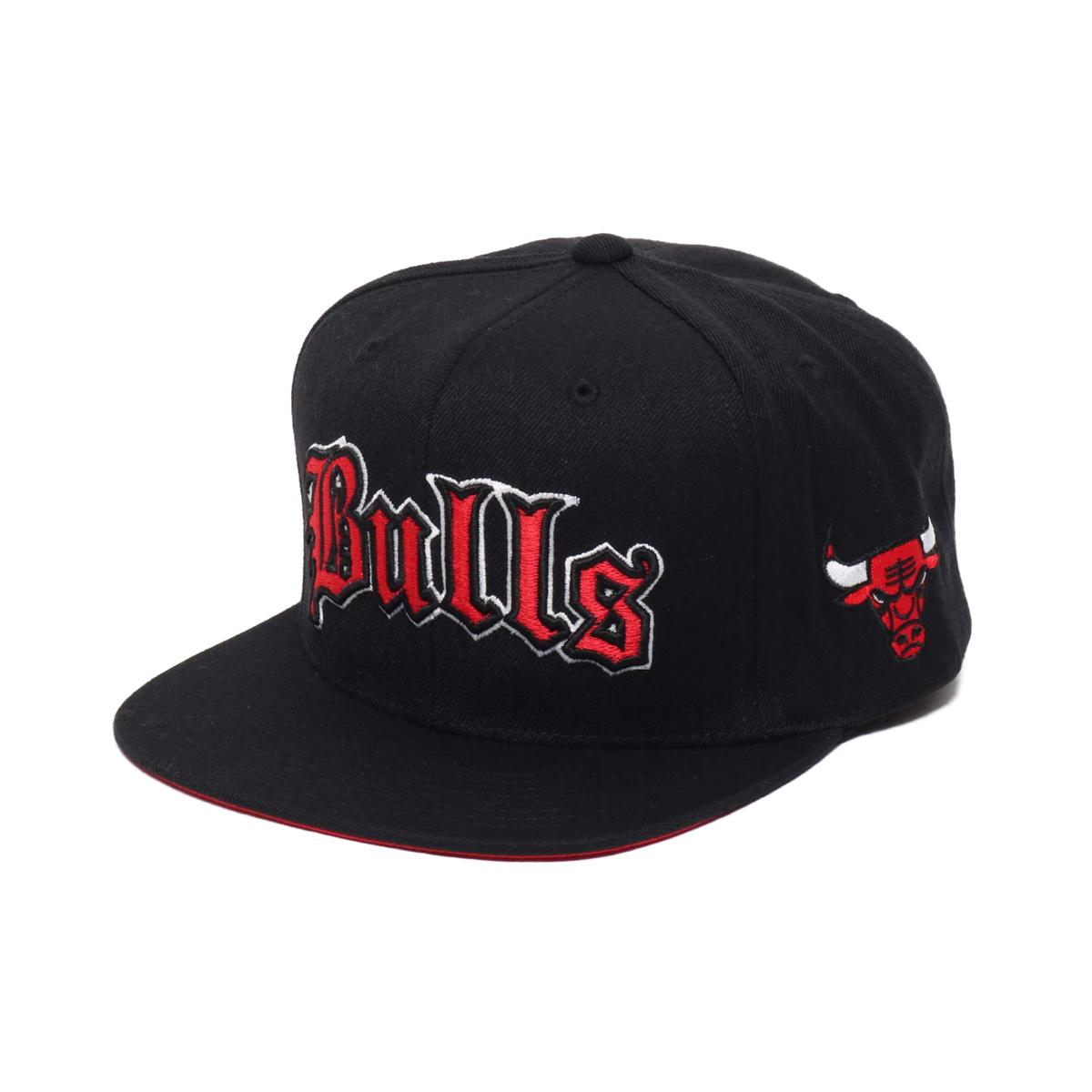 Mitchell & Ness Old English SNAP BACK- CHI.Bulls(ミッチェルアンドネス オールドイングリッシュ キャップ/シカゴブルズ)BLACK【メンズ キャップ】19HO-I