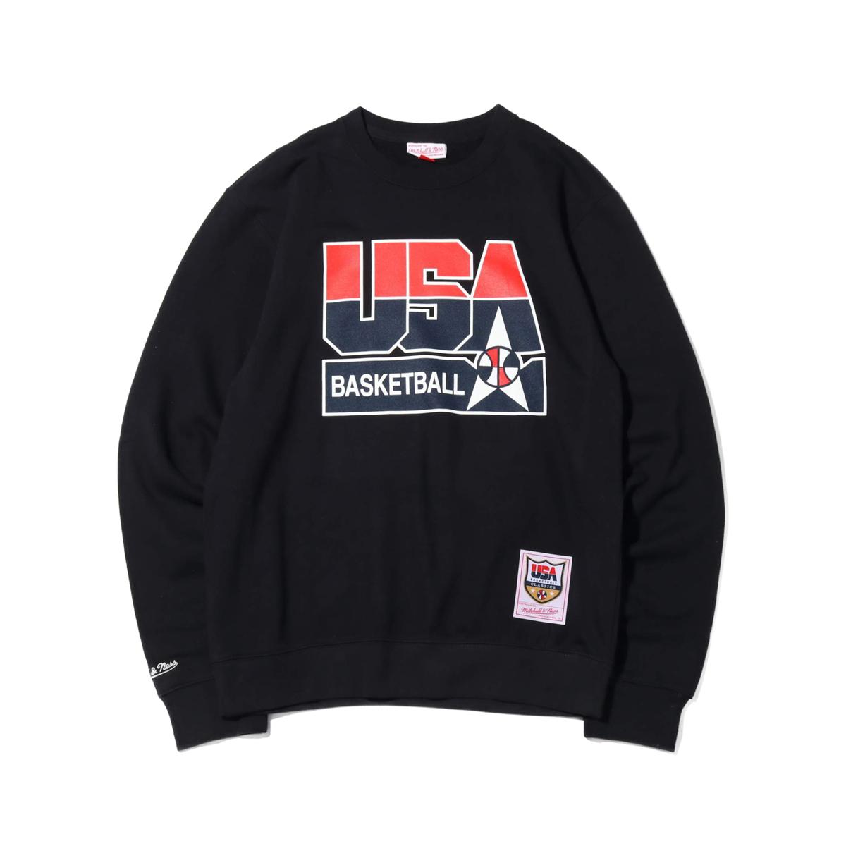 Mitchell & Ness 1992 USA DREAM TEAM BASKETBALL CREW(ミッチェルアンドネス '92 USA ドリームチーム ロゴ クルーネック)BLACK【メンズ スウェット】19FW-I