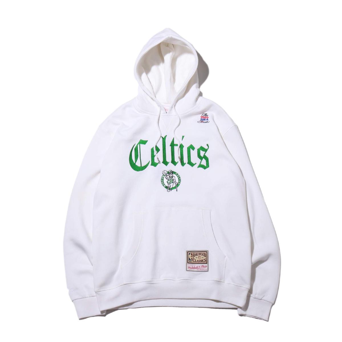 Mitchell & Ness Old English Hoodie - B.Celtics(ミッチェルアンドネス オールドイングリッシュ)WHITE【メンズ パーカー】19FW-I