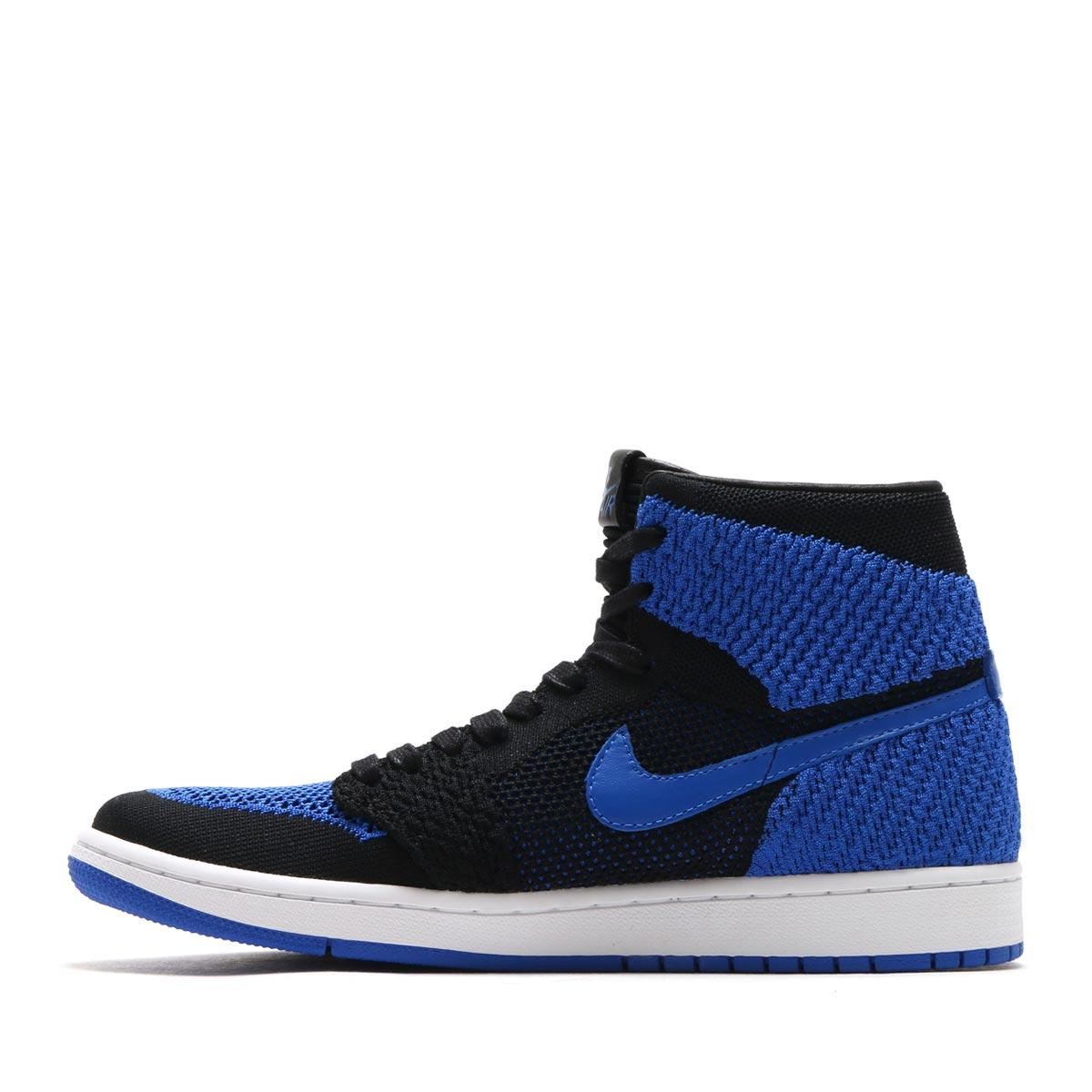 cheap for discount 569ff cab68 NIKE AIR JORDAN 1 RETRO HI FLYKNIT (Nike Air Jordan 1 nostalgic high fried  food knit) BLACK GAME ROYAL-WHITE 17HO-S